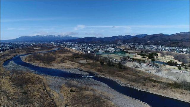 (画像:渡良瀬川を空撮)